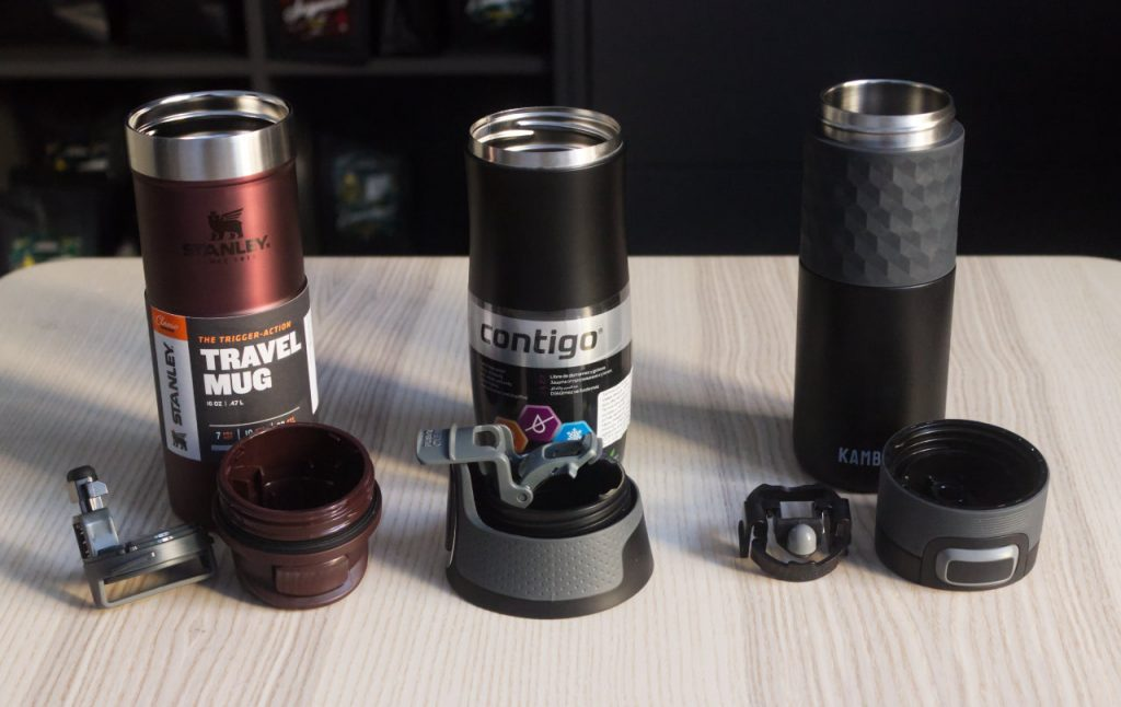 Stanley Classic Trigger-Action, Contigo West Loop and Kambukka Etna lids disassembled